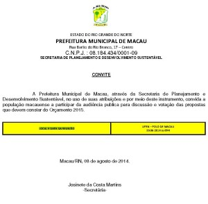 Prefeitura convoca a população para participar da audiência pública do orçamento participativo