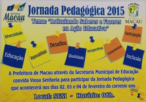Abertura da Jornada Pedagógica será nesta segunda-feira